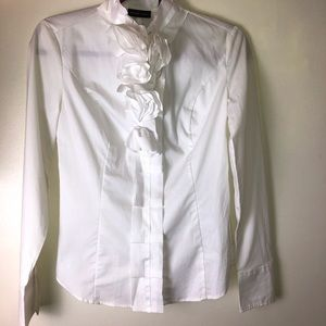 NWT NYCo button down shirt with rose ruffles